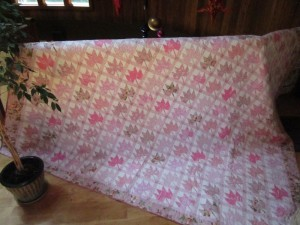 PInk Leaves Recycled Quilt by Lisa Bee-Wilson