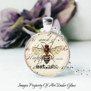 Art Under Glass Bee Pendant